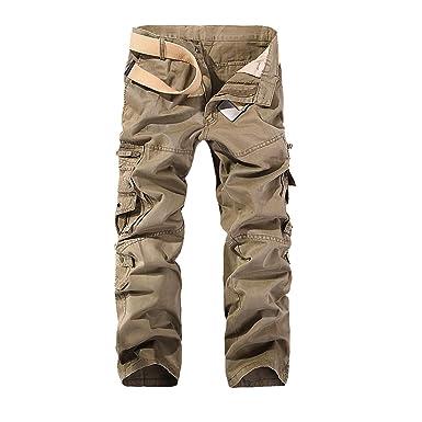 separation shoes 8e33a aef15 Hommes Pantalon Cargo Pantalon de Travail Style Militaire, Casual Pantalon  Multi Poche Cargo Sports De Combat Pantalons en Coton pour Home  Amazon.fr   ...