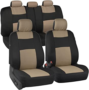Universal Fit for Auto Truck Van SUV Full Set in Beige on Black Easy Install with Two-Tone Accent BDK PolyPro Car Seat Covers Front and Rear Split Bench Protection