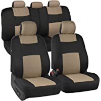 $22 » BDK OS309 Beige On Black PolyPro Car Seat Covers, Full Set – Front and Rear Split Bench…