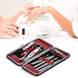Manicure Set, Anself 10pcs Stainless Steel Pedicure Kit Nail Clippers with PU Leather Case for Thanksgiving/Christmas Gift