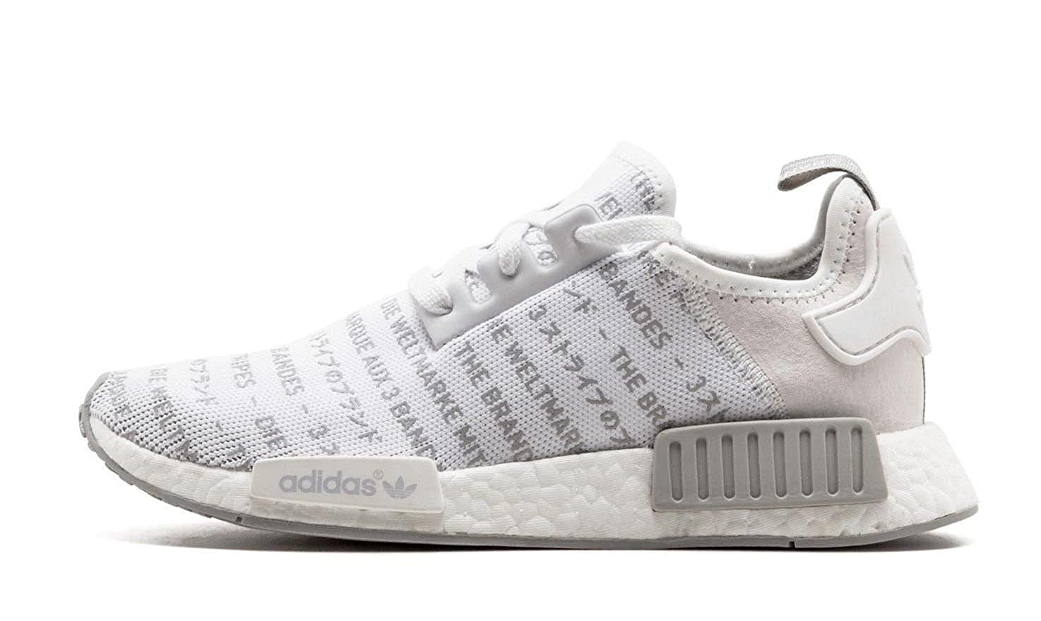 10039ec99b7 adidas NMD R1 Boost Trainers Whiteout Blackout Three Stripes in ...