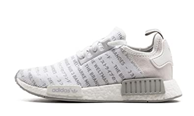 newest dee5e 40f93 Image Unavailable. Image not available for. Colour  adidas NMD R1 Boost  Trainers Whiteout Blackout Three Stripes in White Sneaker Shoes S76518 ...