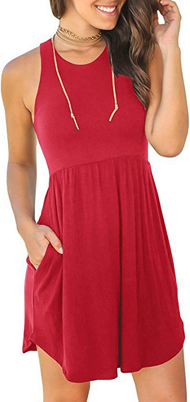 ZIOOER Women Casual Loose Plain Sleeveless Dresses with Pocket