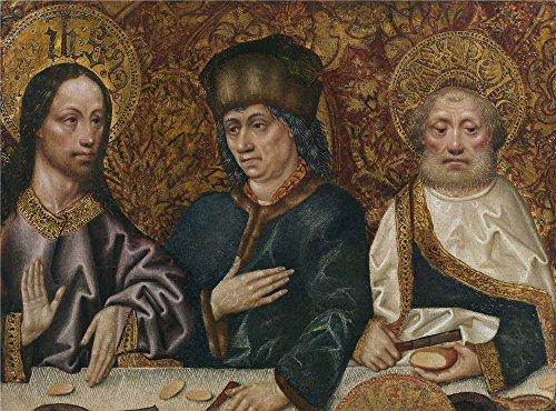 'Maestro De Robredo La Cena En Casa De Simon (fragmento) Ca. 1480 ' Oil Painting, 20 X 27 Inch / 51 X 69 Cm ,printed On Perfect Effect Canvas ,this (Cena Di Halloween A Casa)