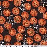 Timeless Treasures Basketballs Black/Orange Fabric By The Yard
