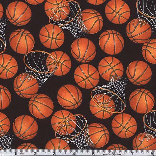 Basketballs Black/Orange Fabric By The Yard (Cotton Print Novelty Fabric)