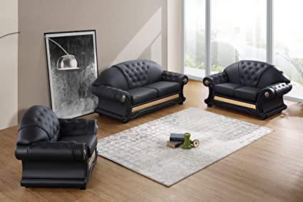 Samuel Design Divani.Amazon Com Divani Casa Cleopatra Traditional Black Leather