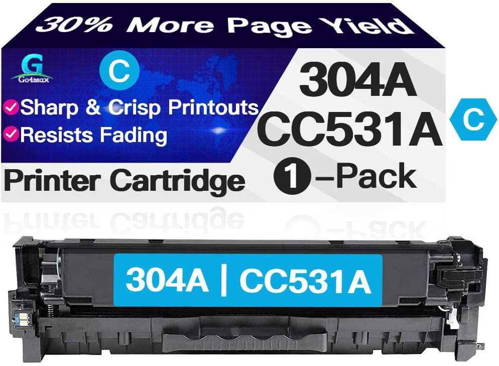 Remanufactured Cyan CC531A Toner Cartridge 304A Used for HP Color Laserjet CM2320nf CM2320n CM2320fxi CM2320 CP2025dn CP2025x CP2025n CP2025 (1-Pack), Sold by Go4max