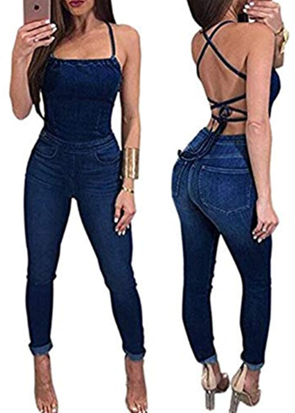 Women's Sexy Halter Strap Cross Back Long Denim Jumpsuit Backless Lace Up Jumpsuit Romper Size S (Dark Blue)