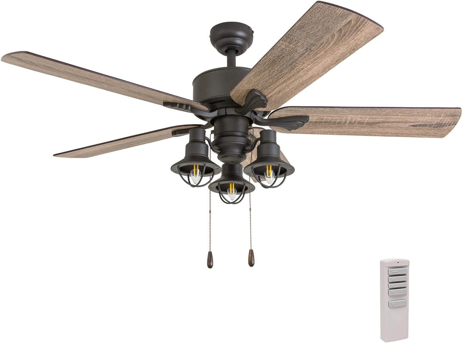 Prominence Home 50757-01 Sivan Farmhouse Ceiling Fan 3 Speed Remote , 52 , Barnwood Tumbleweed, Aged Bronze
