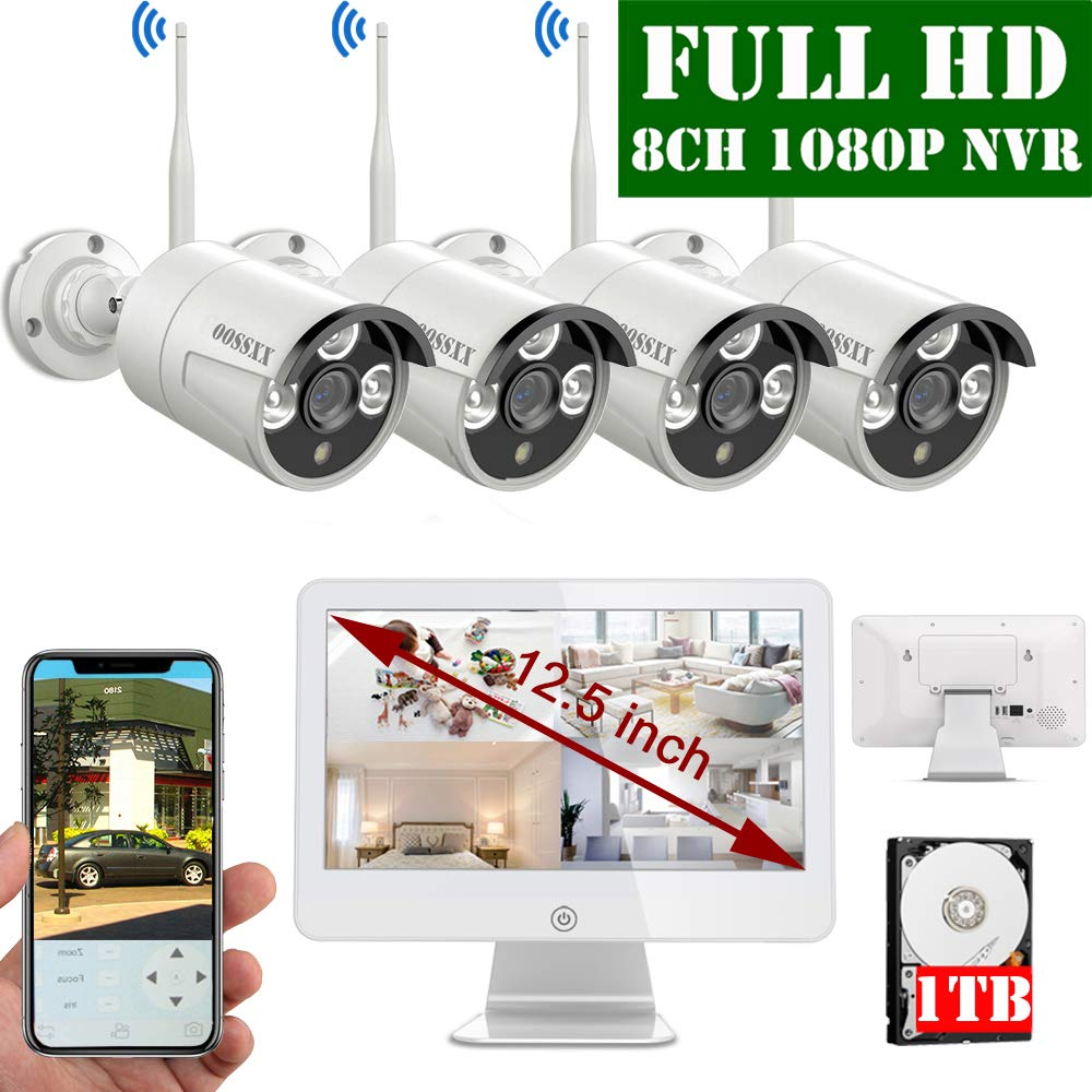 2019 Update OOSSXX 12.5 inch Screen HD 1080P 8-Channel Wireless Security Camera System,4pcs 1080P 2.0Megapixel Wireless Weatherproof Bullet IP Cameras,Plug and Play,70FT Night Vision,1TB Hard Drive