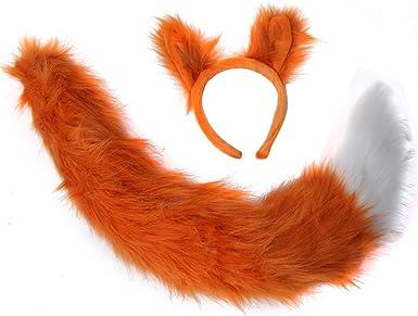 Red Fox Tail Ears Kit Adult Child Plush Animal Halloween Costume Accessory Set