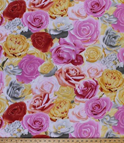 Fleece Roses Rose Flower Flowers Blooms Gardener Gardening Botanical Pink Red Yellow White Floral Fleece Fabric Print by the Yard (42305-xb) - Botanical Print Fabric