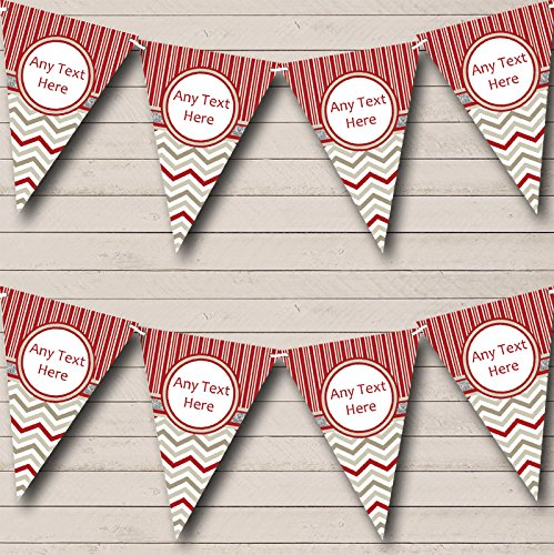 Red Grey Winter Candy Personalized Christmas Bunting Banner Garland
