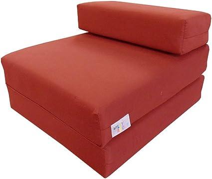 Single Fold Out Foam Z bed Sofa Bed Guest Folding Mattress Waterproof DOTS RED