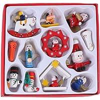 Amosfun 12 peças mini enfeites de Natal em madeira ornamentos em miniatura de Natal enfeites de árvore de natal…