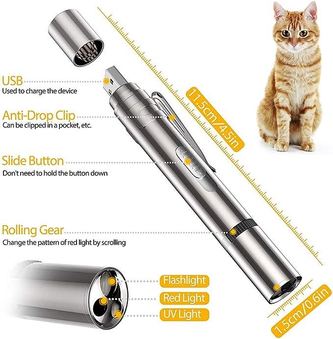 USB Ricaricabile Giocattoli interattivi per Gatti 7 in 1 Puntatore LED per Gatto Torcia Giocattolo LED Giocattoli per Gatti Puntatore a LED Strumento di Addestramento per Animali Domestici Esercizio