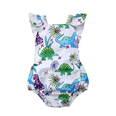 59ddfc16f5fa Image Unavailable. Image not available for. Color  Fashion Newborn Baby  Girl Dinosaur Romper Jumpsuit Sunsuit Outfit Clothes Summer
