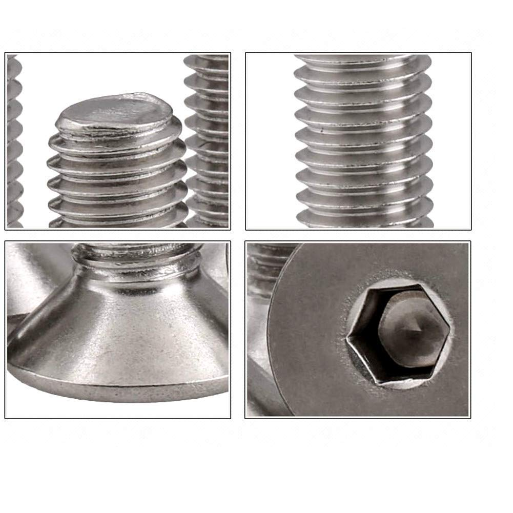 Fullerkreg 18-8 Stainless Steel Hex Drive Flat Head Screw M5 x 0.8 mm Thread 40 mm Long,Packs of 25