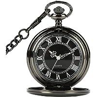 CestMall Negro Reloj de Bolsillo Clásico Mecánico Analógico Cuarzo con 14.5in Collar Colgantepara Regalo de Cumpleaños…
