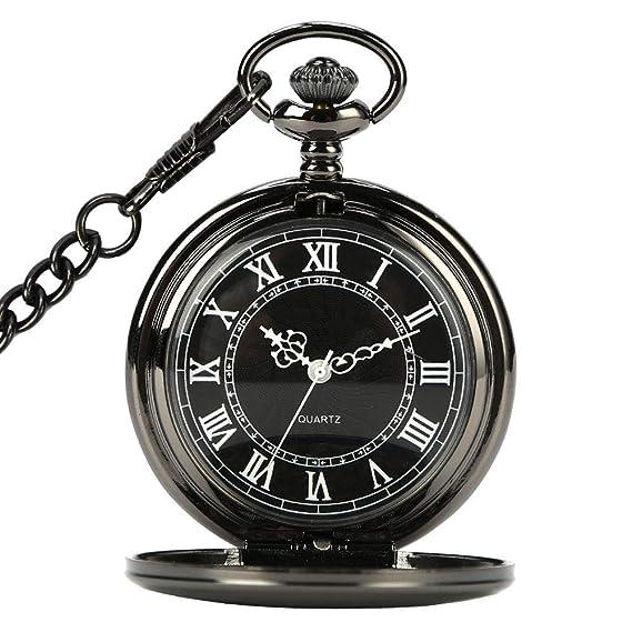 CestMall Reloj de Bolsillo clásico Negro Retro Steampunk patrón de números de Cuarzo Reloj de Bolsillo