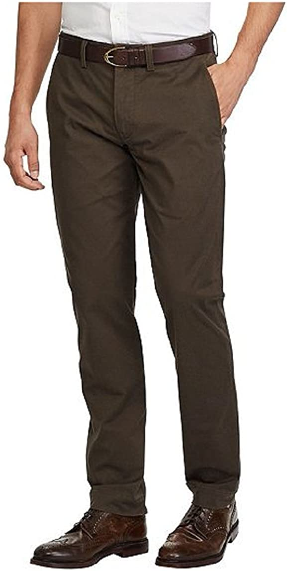 Ralph Lauren Polo Mens Stretch Straight Fit Bedford Cotton Twill Flat Front Chino Pants
