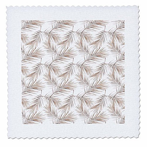 3dRose Uta Naumann Faux Glitter Pattern - Image of Aloha Copper Foliage Metal Leaf Tropical Hawaii Pattern - 25x25 inch quilt square (qs_275095_10) by 3dRose