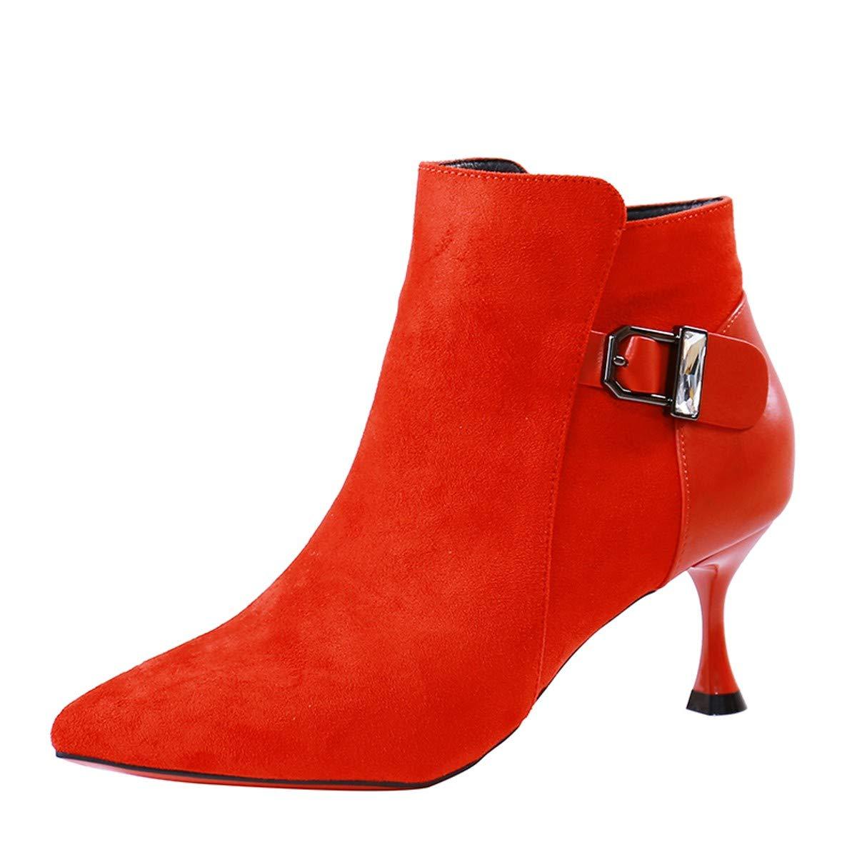 LBTSQ-Temperament Patchwork Wildleder Das Darauf High Heels High Heels 7Cm Mode Gürtelschnallen Reißverschlüsse Stiefel Braut-Schuhe