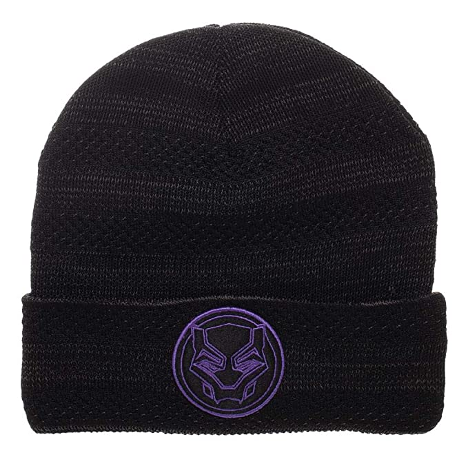 9709af0f Image Unavailable. Image not available for. Color: Black Panther Beanie  Marvel Hat Black Panther Knit ...