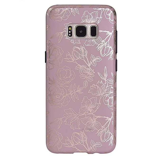 brand new 57c0e 78c6a Rose Gold Chrome Purple Floral Samsung Galaxy S8 Case - Premium Protective  Cover - Cute Flower Phone Cases for Girls & Women [Drop Test Certified]