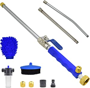 Buyplus Hydro Jet Power Washer - Upgraded 39'' Extendable Flexible Car Washing Wand, Garden Water Hose Sprayer Nozzle Tips Attachment,Glass Window Cleaning Tool,with Foam Cannon Brush