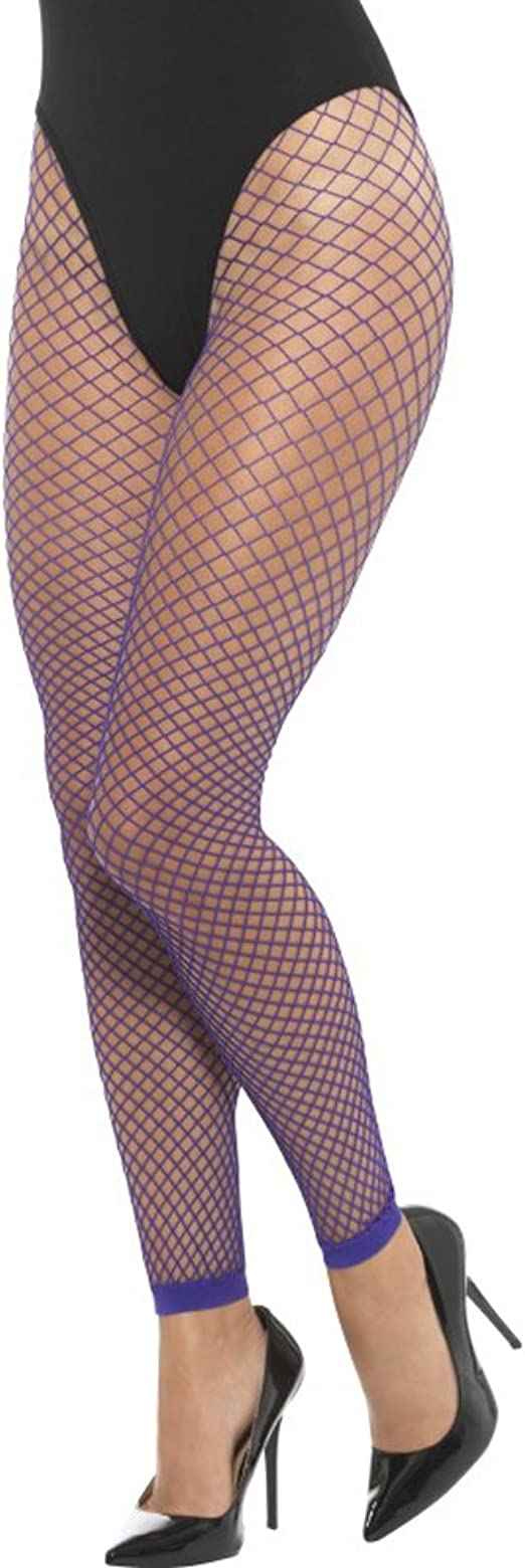 Purple 1980/'s Footless Fishnet Tights