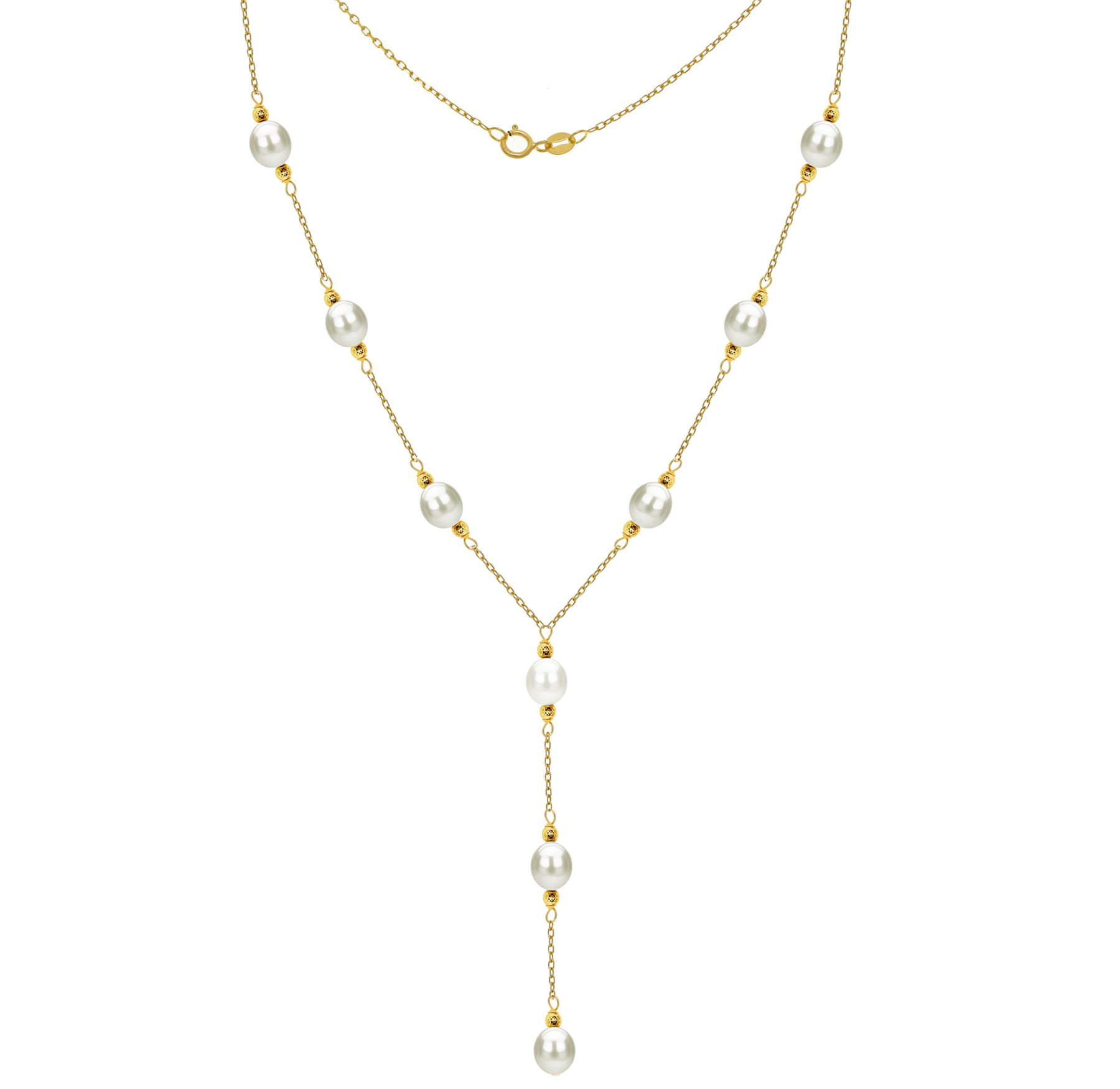Lariat Tin Cup Station 14K Gold Chain Necklace Cultured freshwater White Pearl Jewelry for Women by La Regis Jewelry