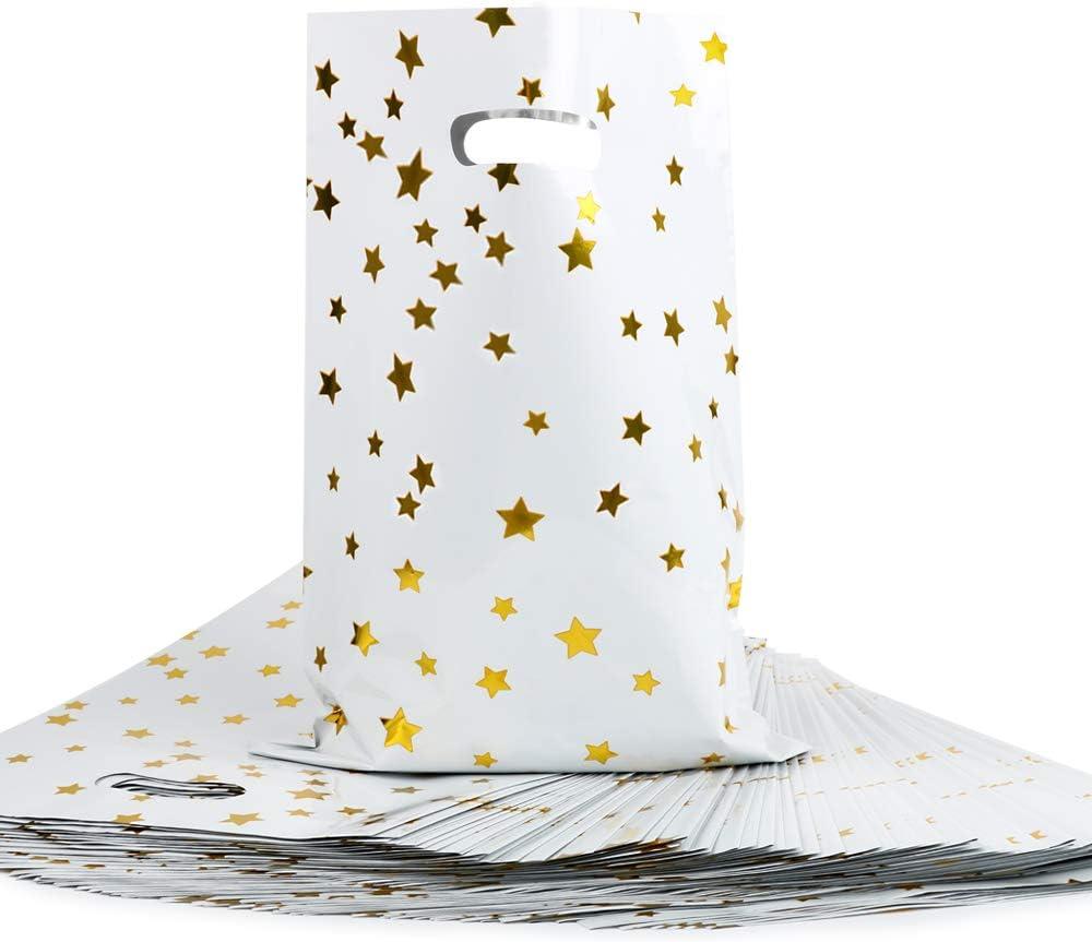 FLOFIA 60 Bolsas Bolsitas Regalo Navidad Pequeñas Plastico de Foil Papel de Aluminio con Asa Bolsas de Regalos Estilo Estrellas para Cumpleaños Niños Fiestas Comunión Navidad Caramelos Gallestas Dulce
