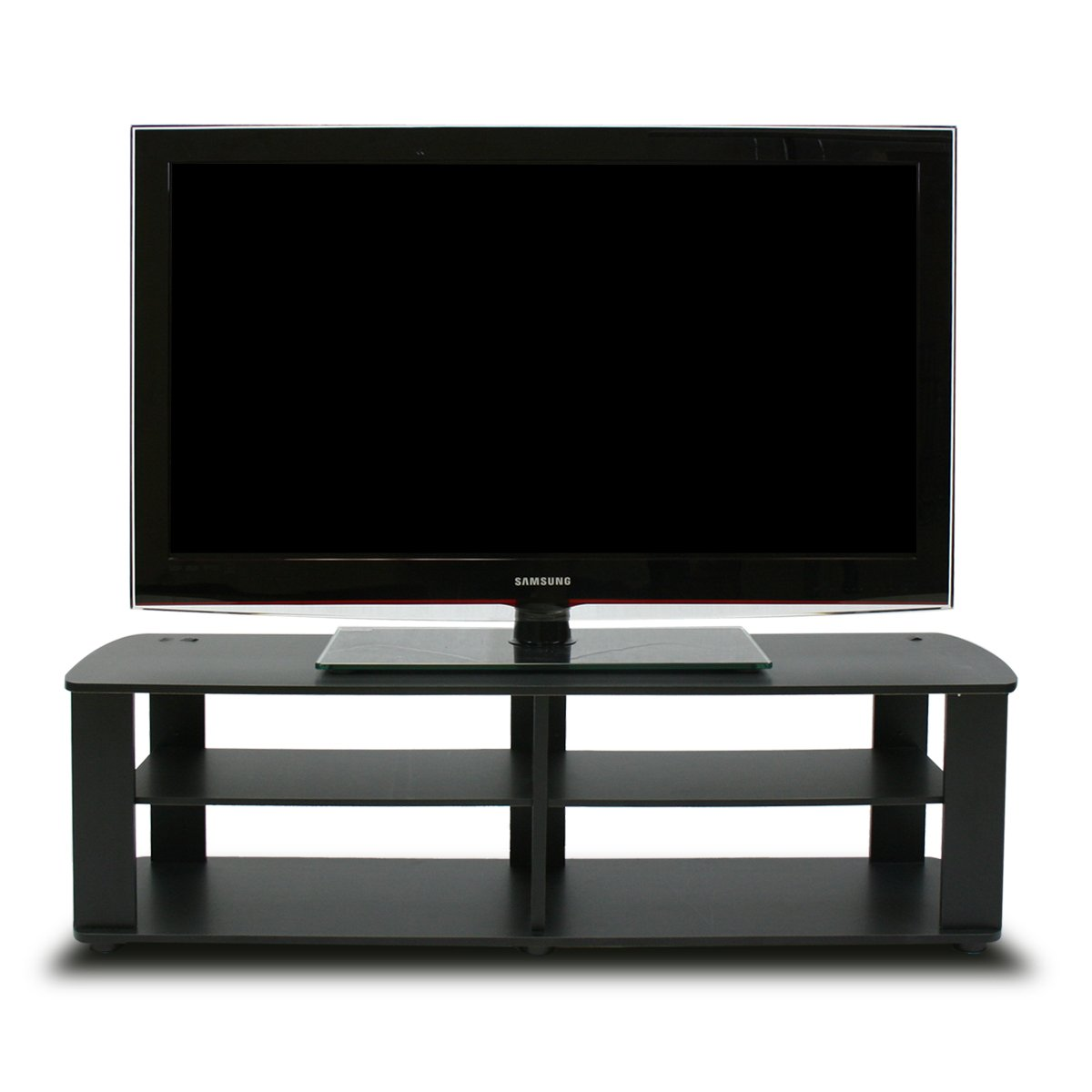 Black tv stand entertainment center living room furniture home decor shelf new ebay Home furniture tv stands