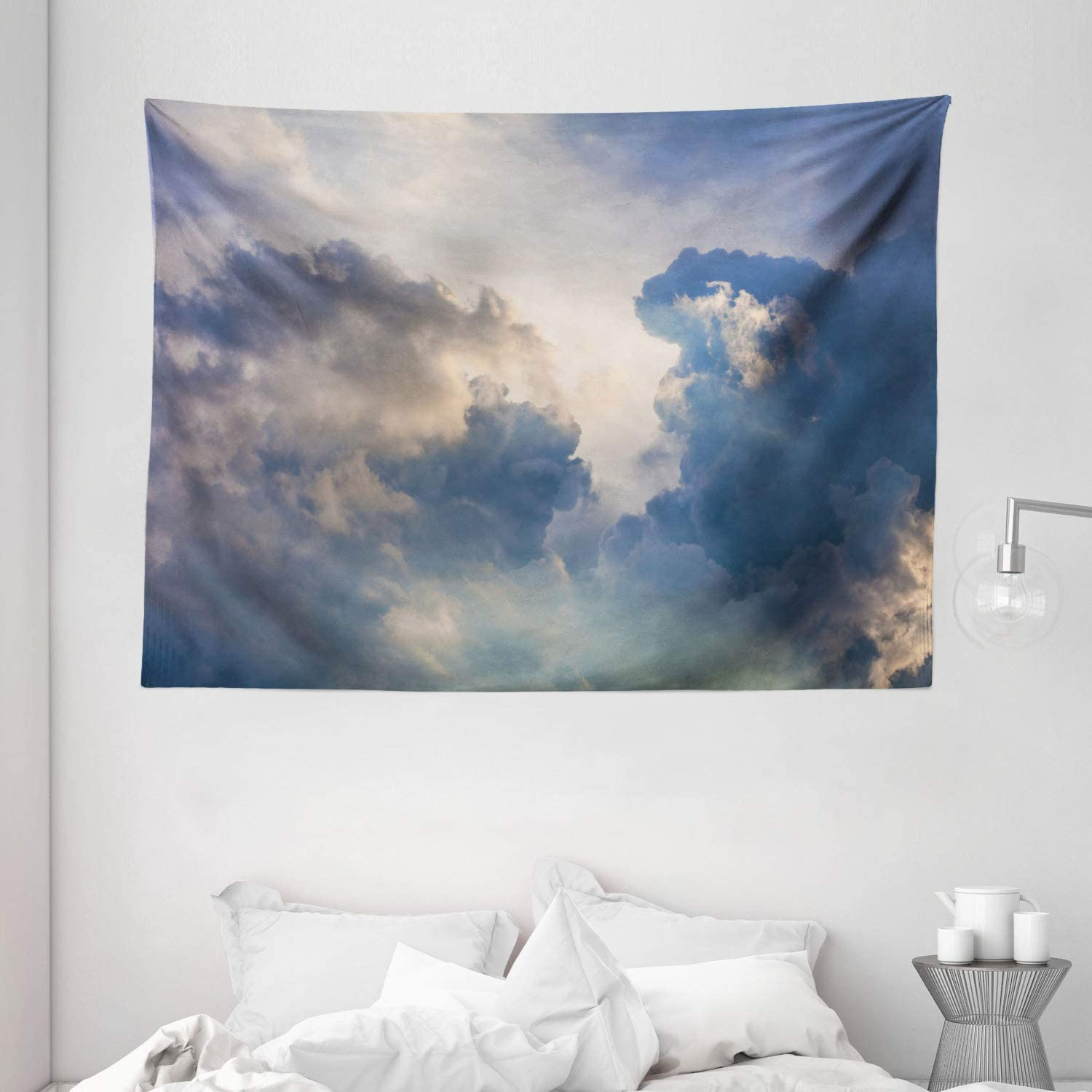 Amazon Com Ambesonne Clouds Tapestry Majestic Rain Storm Clouds Over The Sky High Above The Ground Environment Scenery Wide Wall Hanging For Bedroom Living Room Dorm 80 X 60 White Blue Home