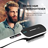 Beard Straightener,Beard Straightener Comb,Hair Straightening Brush for Men and Women Electrical Heated Irons,Auto Temperature Lock,Anti Scald Auto,For Home and Travel (red)