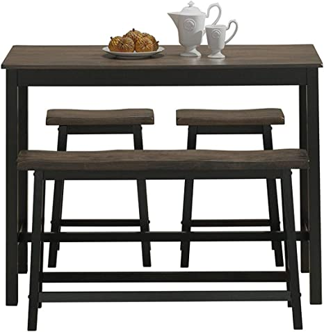 SJHAI 3-Piece Dining Table and Bench Set 4-Person Space-Saving Dinette for Kitchen