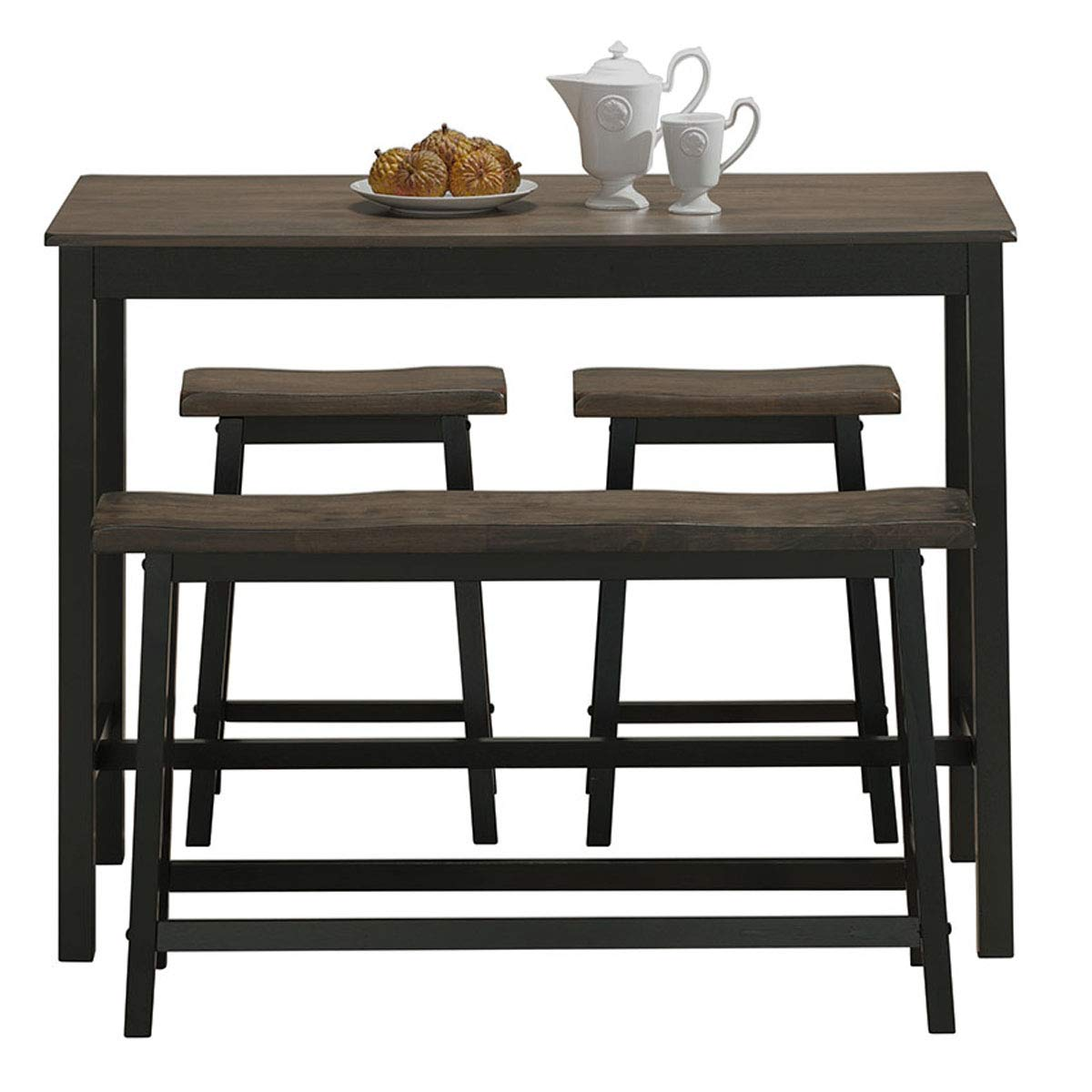 COSTWAY 4-Piece Solid Wood Dining Table Set, Counter Height Dining Furniture with One Bench and Two Saddle Stools, Industrial Style with Foot Pads, Ideal for Home, Kitchen, Living Room (Gray & Brown) by COSTWAY