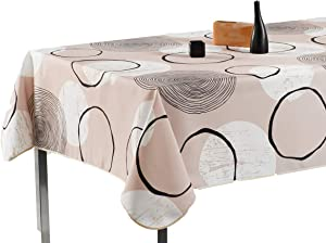 My Jolie Home 63-Inch Round Tablecloth Beige White Modern Circle, Stain Resistant, Washable, Liquid Spills Bead up, Seats 4 to 6 People (Other Size: 60x80-Inch, 60x95-Inch, 60x120-Inch)