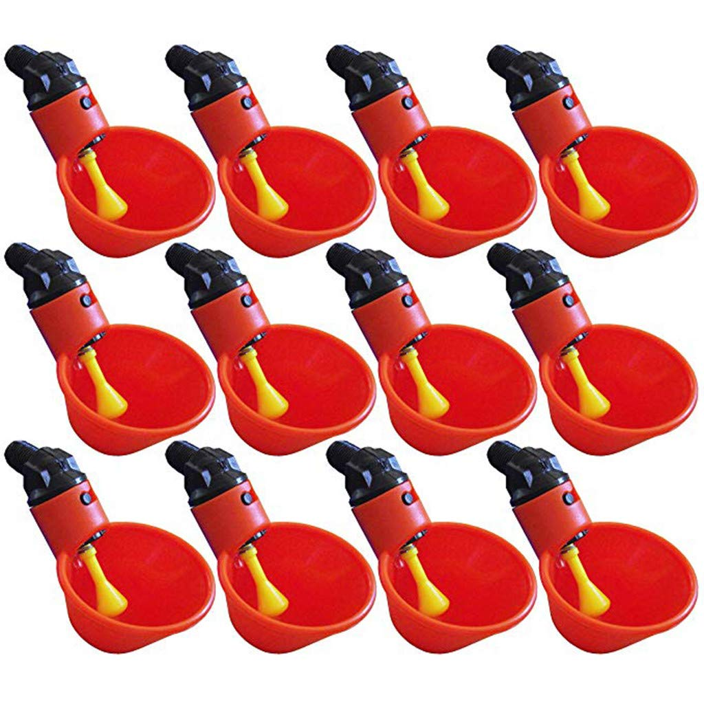 4Clovers 12pcs NO PECK Automatic Poultry Watering Drinker Cups Float Style Gravity Feed Waterers Chicks Chicken Duck Quail