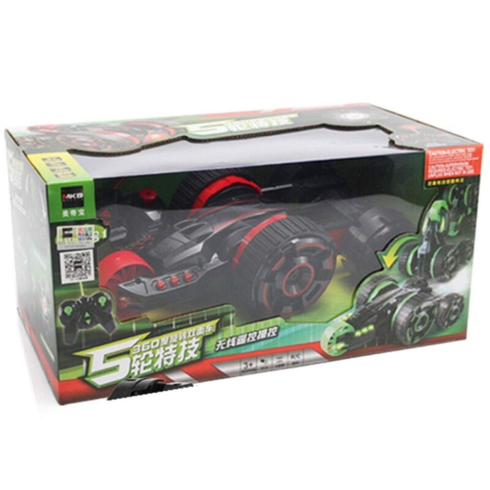 TBFEI Double Sided Rotating Tumbling 360 Degree Flips,RC Truck with LED Headlights Children Remote Control Toy Charging Stunt Dump Truck RC Car Remote Control Stunt Car (Color : Green) by TBFEI (Image #6)