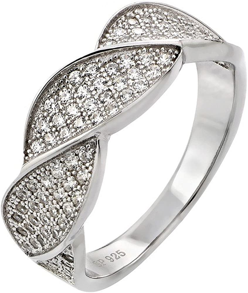 Princess Kylie Clear Pave Set Cubic Zirconia Side Way Design Ring Rhodium Plated Sterling Silver
