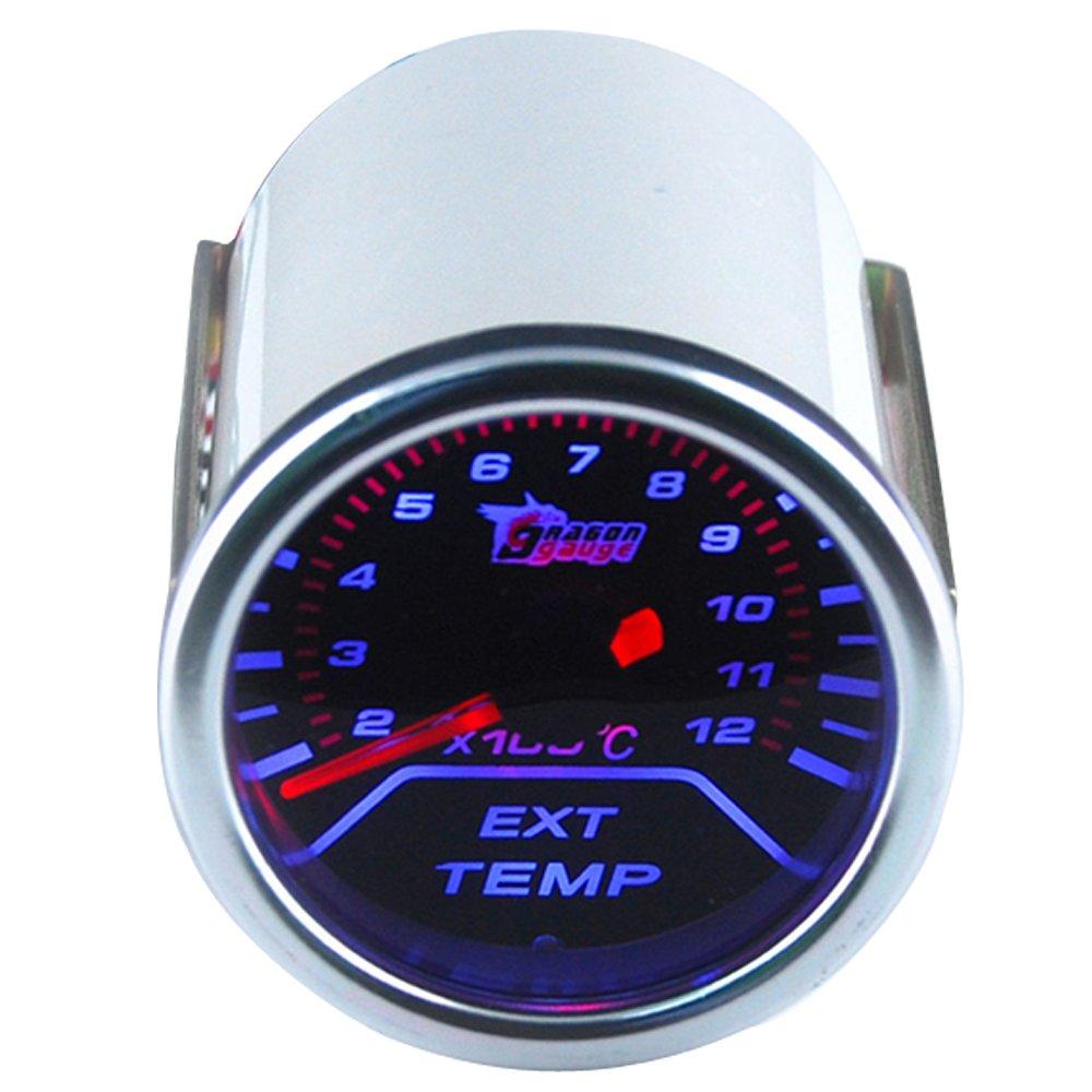 Supmico 12V Auto 52mm Universale digitale leggero Turbo boost calibro Misuratore di misura Fumo viso tinta Bar Luce bianca