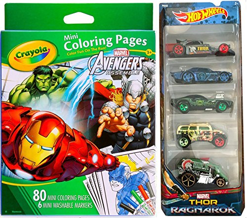 Thor Ragnarok Hot Wheels Heroes 5-pack Marvel + Crayola Marvel Avengers Mini Coloring Pages & Magic Marker Set set car Collection Hulk / Valkyrie / Hela / Thor & Hulk Truck