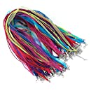 yueton 50pcs Colorful DIY Jewelry Making Voile String Ribbon Organza Strings Lobster Clasp Necklace Chain Cords