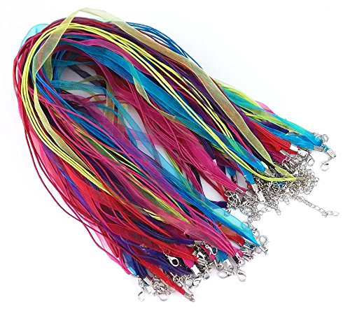 - yueton 50pcs Colorful DIY Jewelry Making Voile String Ribbon Organza Strings Lobster Clasp Necklace Chain Cords