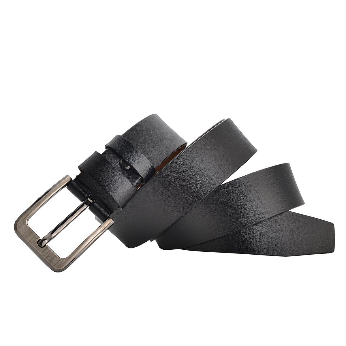 Men Belt Genuine Leather for Regular /& Big and Tall Waist 56-61, Black Jeans Belt Dress Belt Casual /& Work 35-62