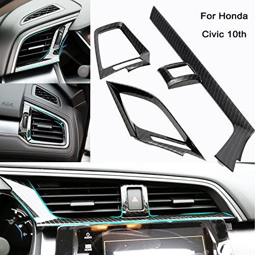 Xotic Tech Auto Interior Trim - Carbon Fiber Pattern Dashboard Air Vent Decor Cover Trim Decal Sticker for Honda Civic 10th 2016-2017