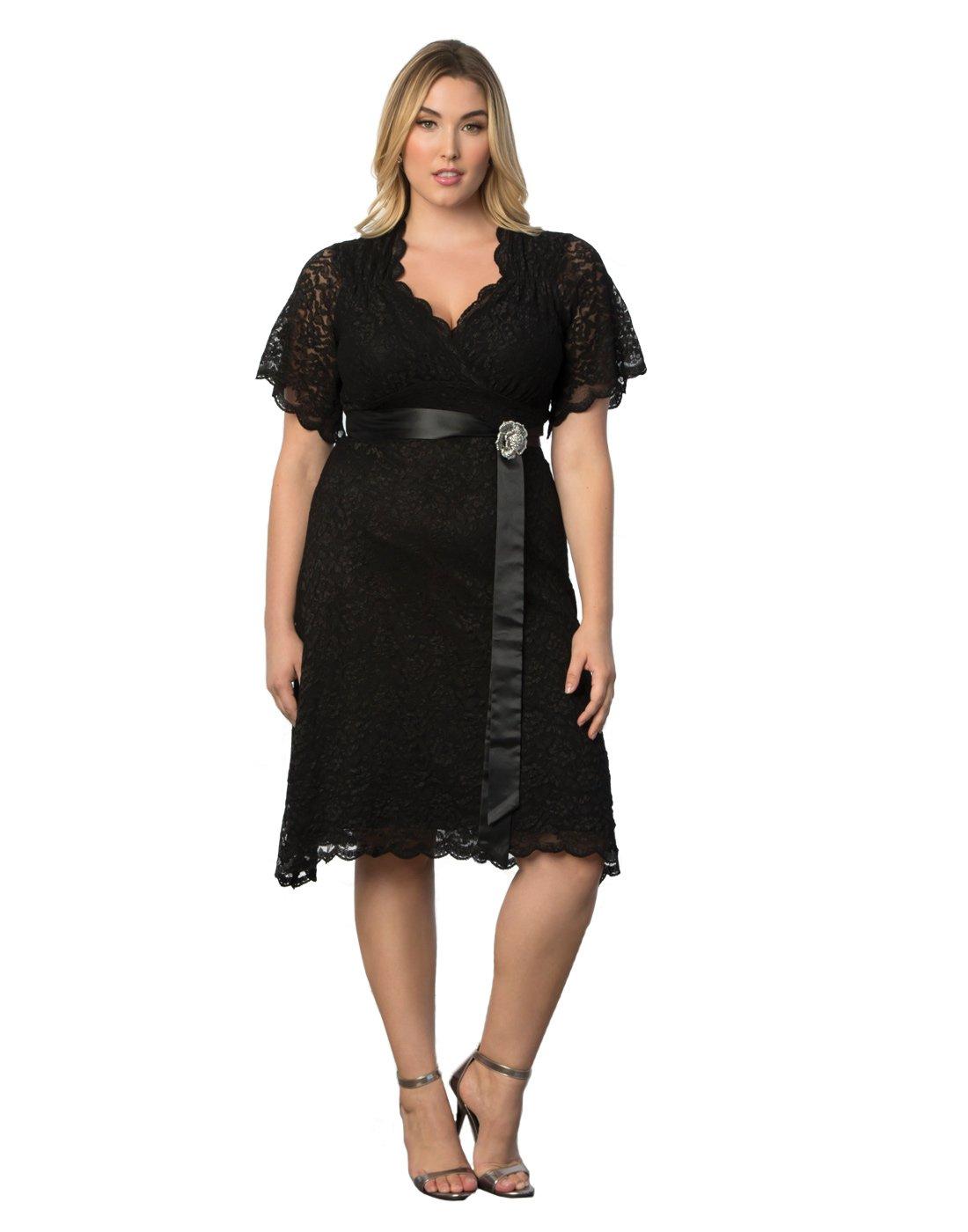 Kiyonna Women's Plus Size Retro Glam Lace Dress 2x Black Lace/Black Lining